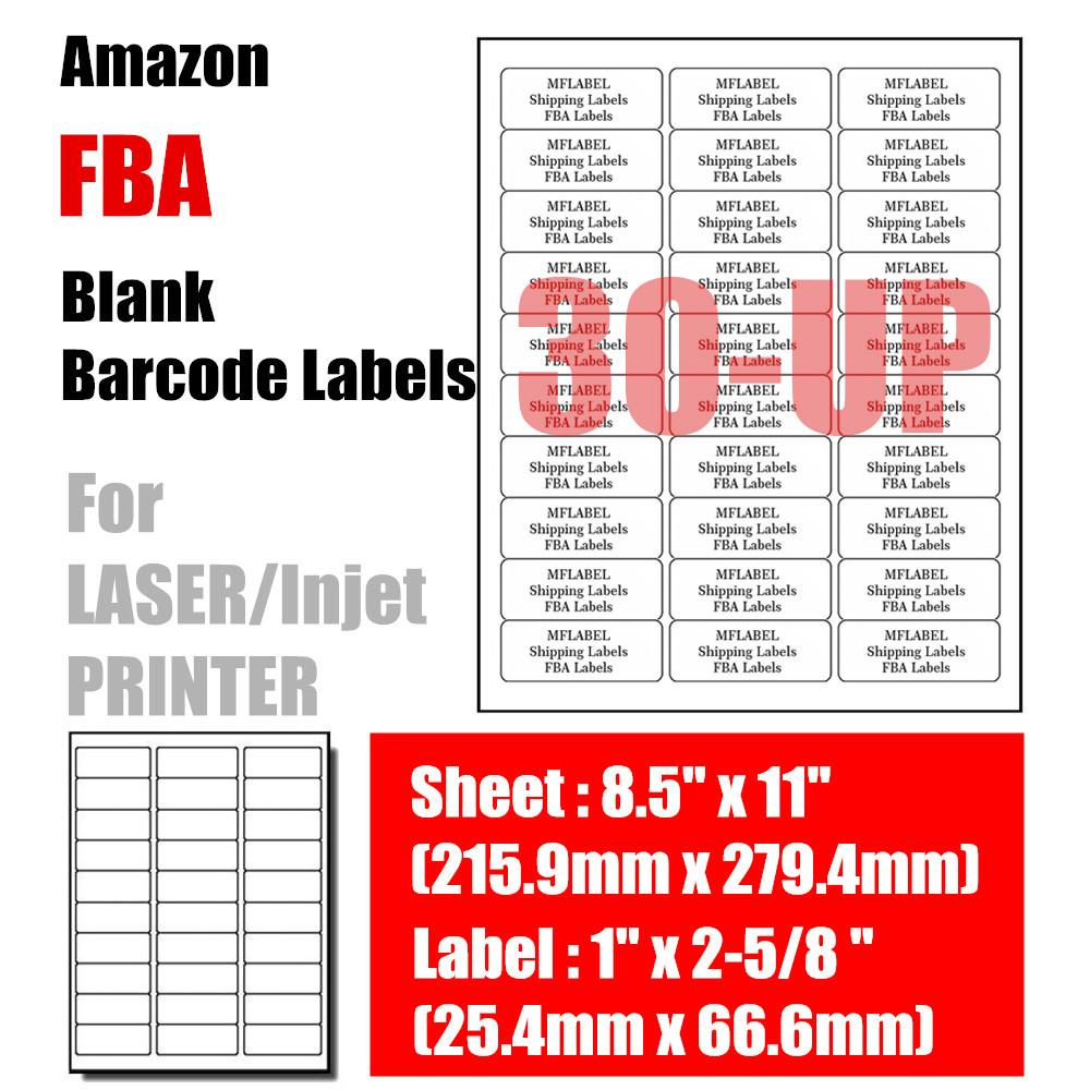 30UP 100 Sheets 1 X 2-5/8inch Labels Fulfilled by Amazon FBA Blank Bar code  Label Merchant Barcode Address Labels 66 6mm*25 4mm