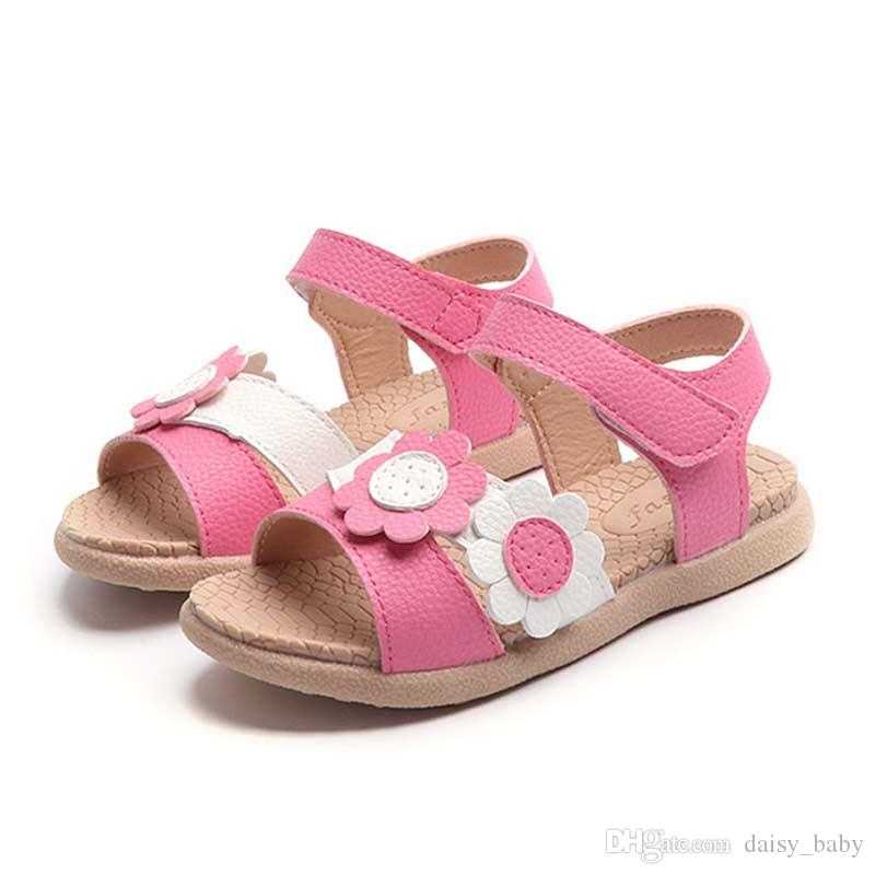 4ae53f342290 2018 Summer New Children Shoe Fashion Flower Design Sandals Girls PU  Princess Shoe Beach Shoes For Kids Sandals #7 Cute Lil Girl Shoes Boys Shoes  Boots From ...