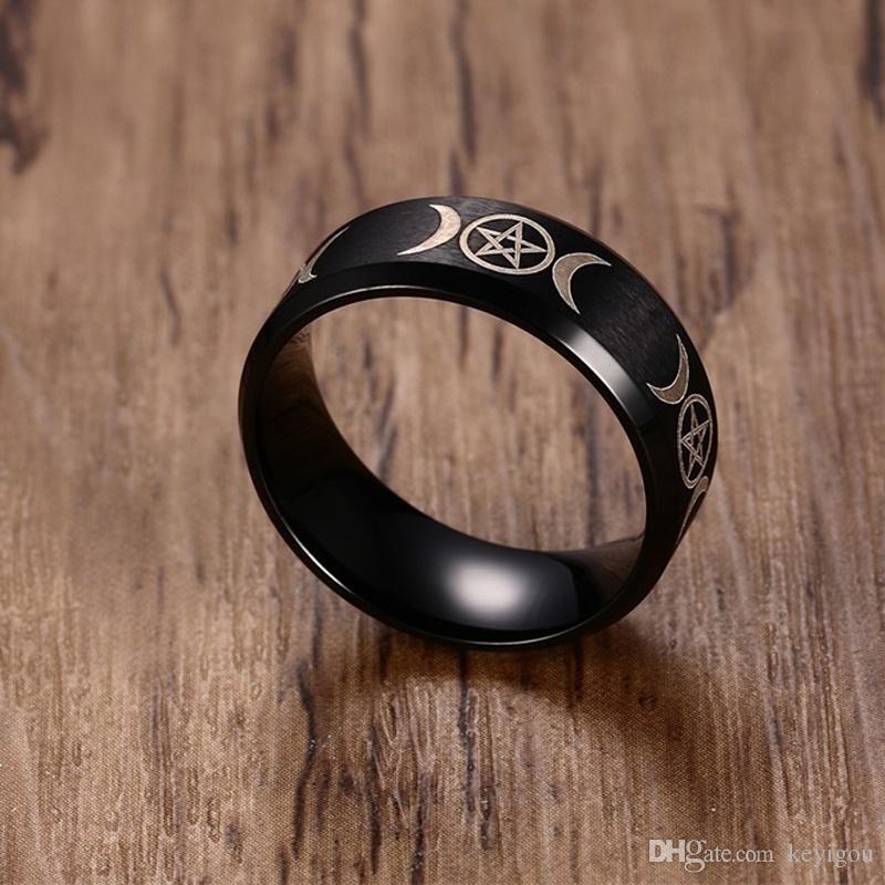 Erkek Üçlü Tanrıça Pentagramı Yüzük Erkekler için Paslanmaz Çelik Crescent Moon ve Pentagram Erkek Takı Altın Gümüş Siyah Anel
