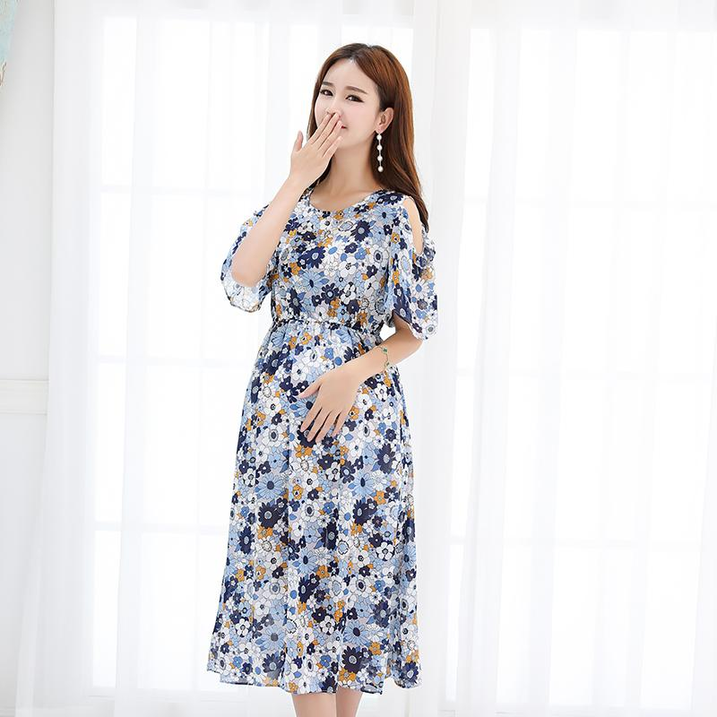 87ad6595a77d95 2019 2227  Off Shoulder Flower Printed Chiffon Maternity Dress 2018 Summer  Fashion Clothes For Pregnant Women Beach Office Pregnancy From Orchidor