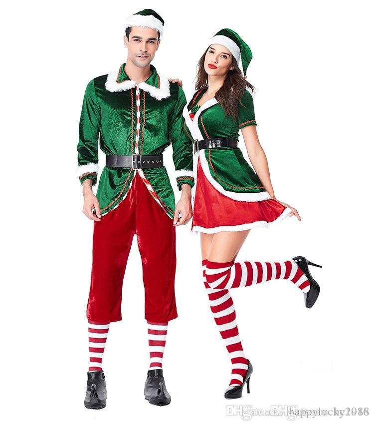 New Christmas Couple Clothing Europe And America Green Christmas Elf ... 4f389c0c4