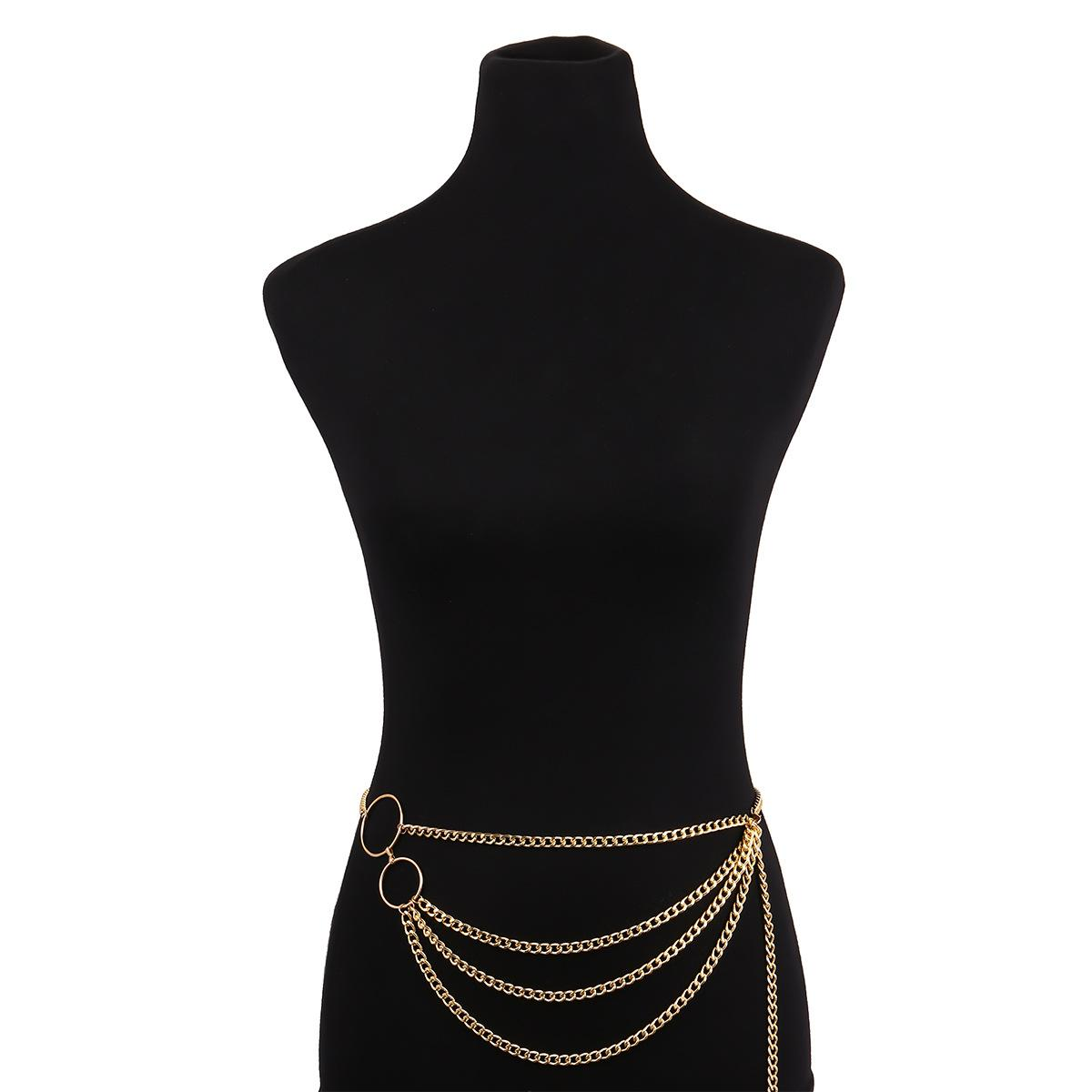 Bohemia vintage gold silver plated waist chains body jewelry vintage multilayer simple dance yoga alloy belly chains wholesale for women