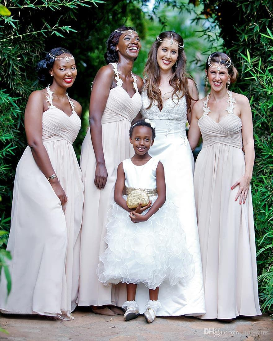 Summer Beach A Line Chiffon Long Bridesmaid Dresses Lace Halter Ruffles  Floor Length Maid Of Brides Dresses Wedding Party Guest Wear Red Bridesmaids  Dresses ... 4d58617b7d1a
