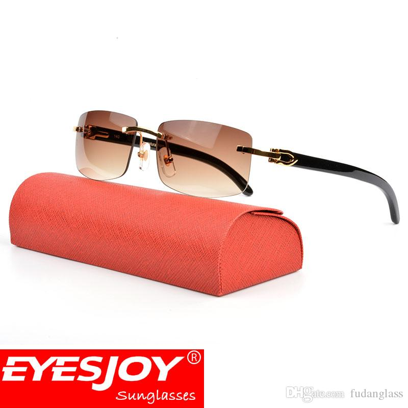 Luxury Rimless Sunglasses Buffalo Horn Glasses Vintage Sunglasses Brand for Men Women Black Buffalo Fashion Sunglasses With Original Red Box