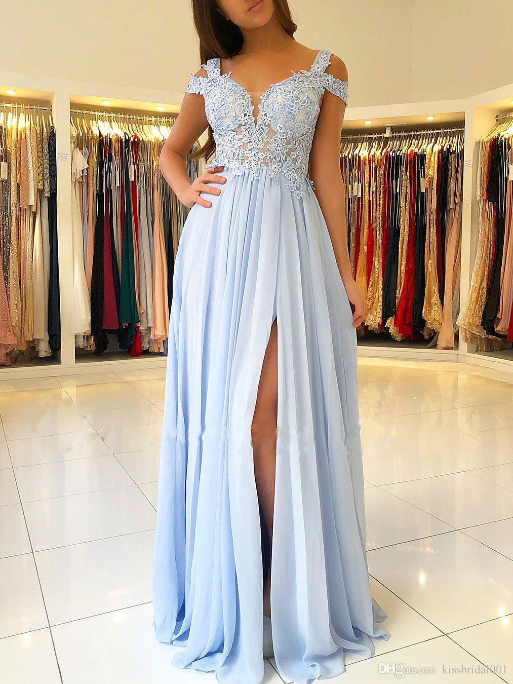 Großhandel Lavendel Spitze Abendkleider Günstige Lange Chiffon Split  Formale Abendkleider Weg Von Der Schulter Party Kleider Mädchen 9 Von