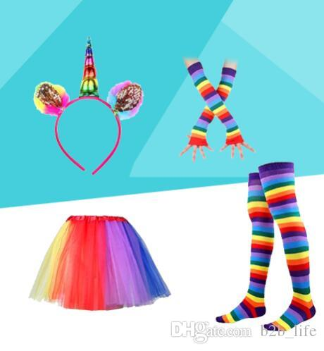 women Colorful Rainbow Tutu Skirt with Unicorn Hair Hoop headband leggings socks gloves Set Dance Party Costumes KKA4377