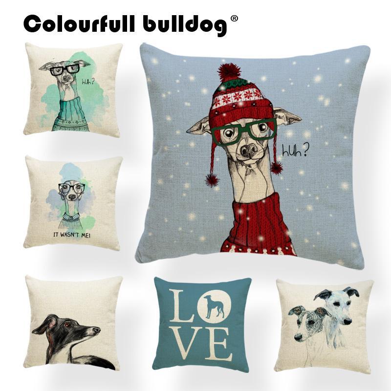 greyhound cushion merry christmas pillow case animal home outdoor decor snowflake throw pillows turkish kilim 18x18 burlap soft christmas pillow case home - Christmas Pillows
