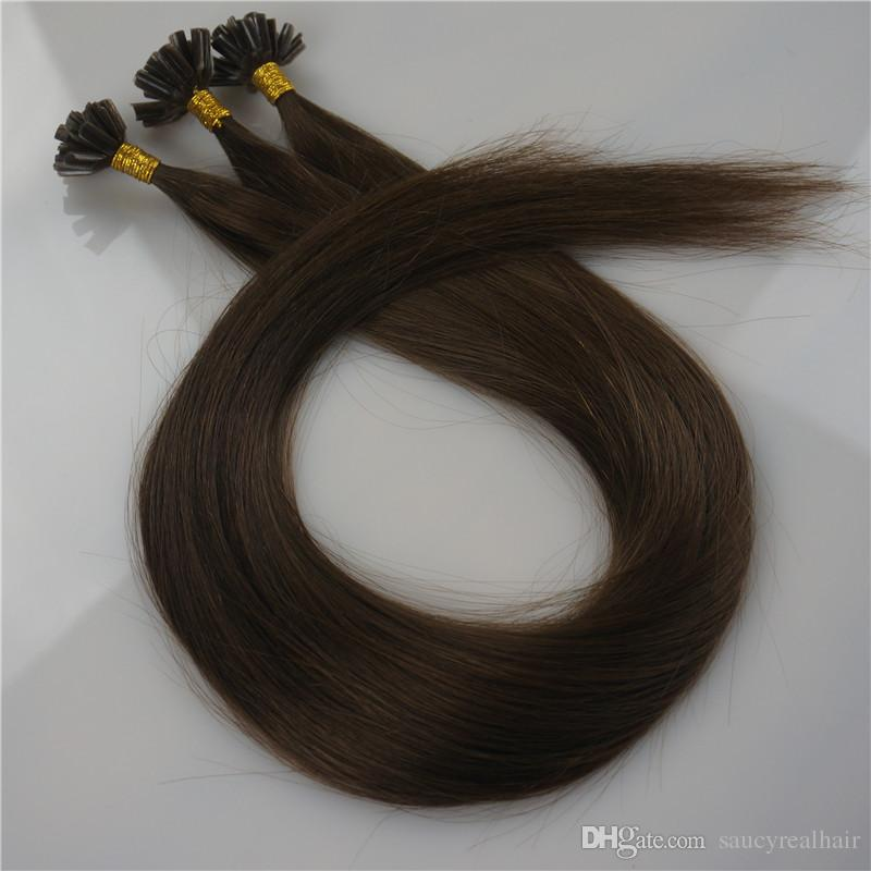 Nice Quality 150g 150Strands Pre bonded Nail U Tip Hair Extensions Human hair 16 18 20 22 24inch #4 Brown color Brazilian Indian hair