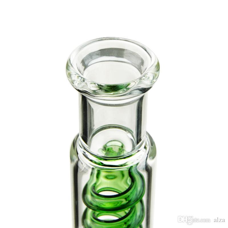 Azul Verde Tubo Reto Bong Com Freezable Bobina inline Perc Desenvolver Rig A Bong vidro da tubulação de água invertido T Bubbler Dab óleo ILL06-07