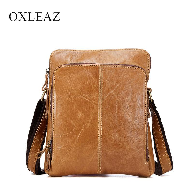 5859fa4238 OXLEAZ Slim Vintage Genuine Leather Mens Messenger Bags Small Man Bag  Shoulder Bag Casual Male Cross Body Bags For Men Designer Handbags  Crossbody Bags From ...