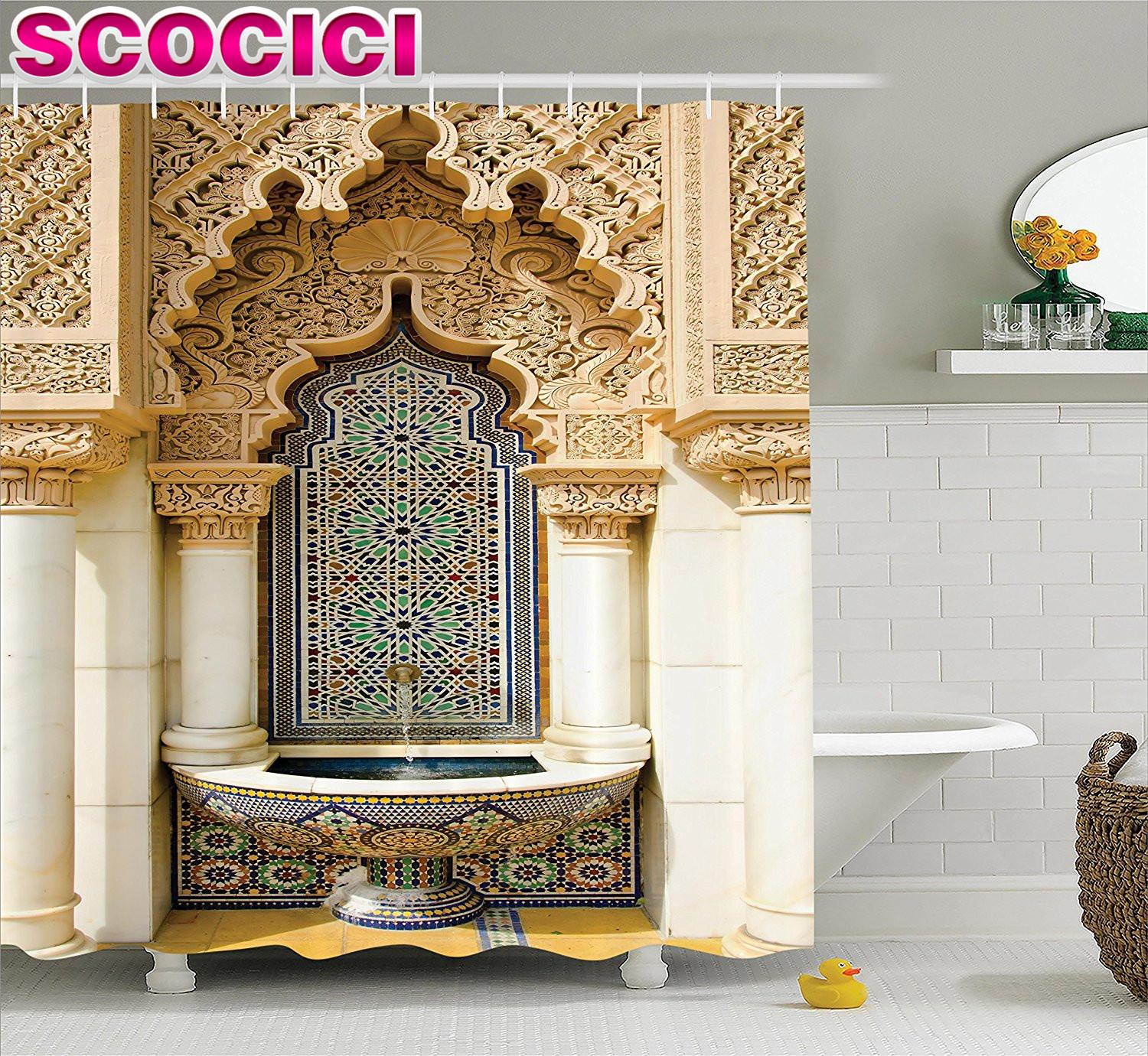 DHgate & Moroccan Decor Shower Curtain Vintage Building Design Islamic Housing Art Historic Exterior Facade Mosaic Picture Polyester Fabr