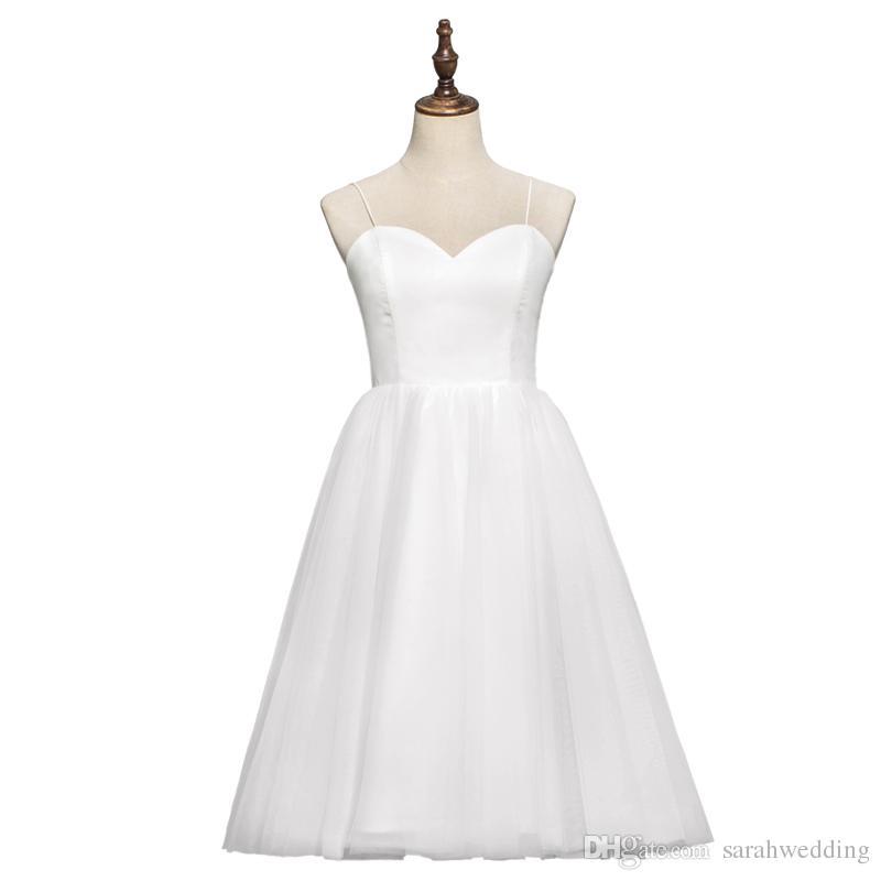 Spaghetti Tulle Beach Wedding Dresses Tea Length 2018 White Ivory ...