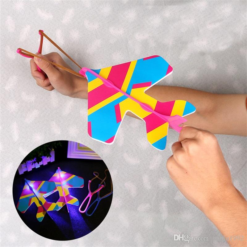 Airplane Model Creative Hand Throwing Led Elastic Aircraft Flying Foam  Model Children Square Outdoors Puzzle Toys Free Shipping 1 2xm Z