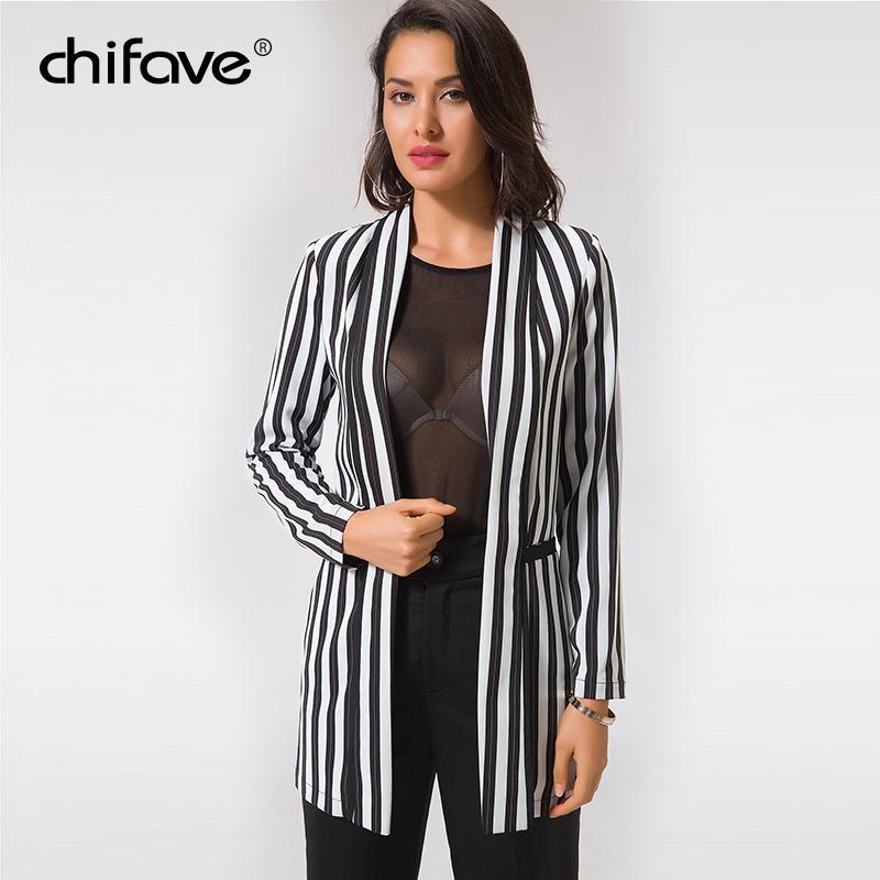 Compre Chifave Blazer Mujer 2018 Negro Gris Chaquetas De Rayas Verticales  Bolsillos Casuales Chaqueta Larga Chaqueta Otoño Otoño Tallas Grandes 5XL  ... 37f46ab377b0