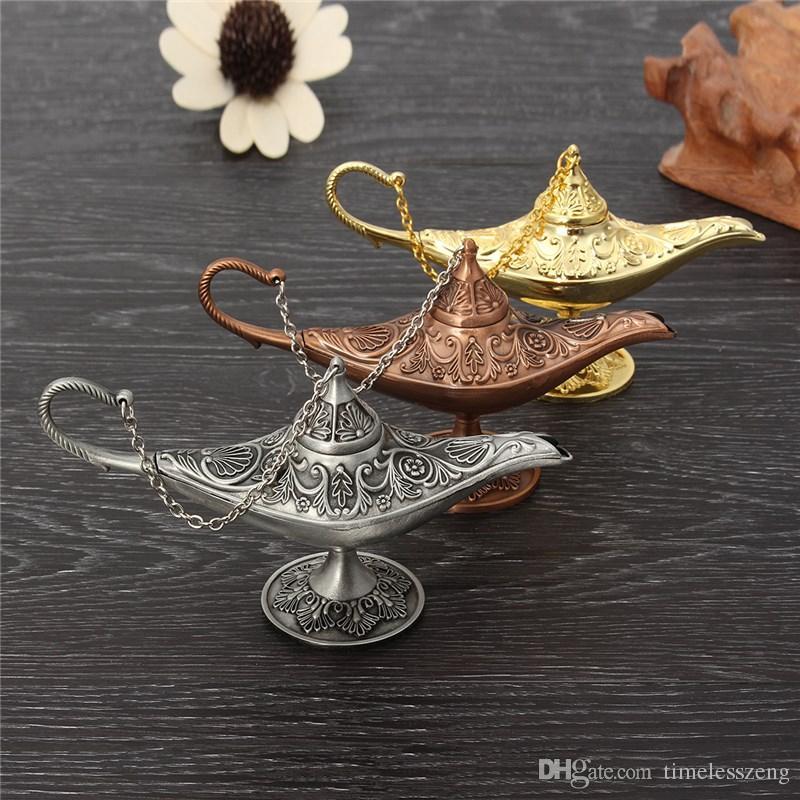 Excellent conte de fées Aladdin lampe magique brûleur d'encens Vintage Rétro Thé Pot Génie Lampe Aroma Pierre Ornement En Métal Artisanat