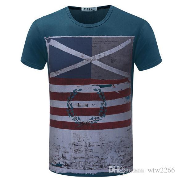 Maglietta da uomo a maniche corte T-shirt da uomo girocollo slim da uomo cool giacca popolare marea da uomo