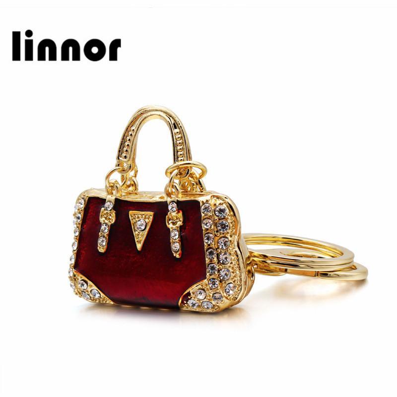 39af77deb7eb Linnor Charm Red Enamel Crystal Bag Keychain Gold Metal Rhinestone ...