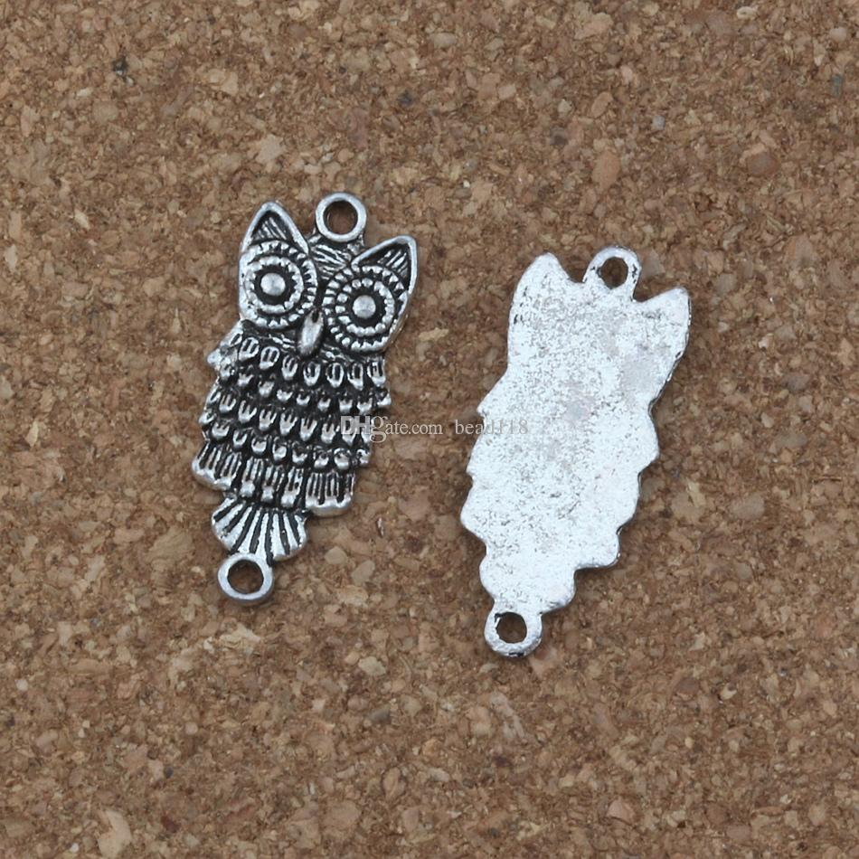 MIC / Charms owl connector 12.8 * 28.5mm Antique Silver Jewelry DIY Fit Bracelets Necklace F-1