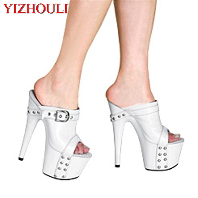 9f0a4077a89 Women s Platform Shoes 17cm Ultra High Heels Slippers Shoes 7 Inch Hand  Made High Heel White