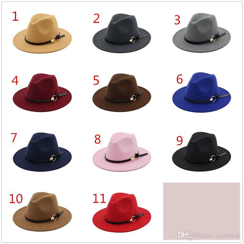Acquista New Fashion Cappelli Uomo Donna Elegant Fashion Solid Feltro  Fedora Hat Band Wide Flat Cappellino Jazz Cappelli Trilby Panama A  4.33  Dal Jamesok ... 3b6a9a74c68a