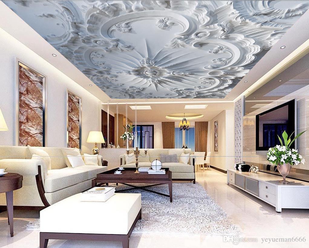 Papier Peint Motif Nature acheter personnalisé moderne papier peint 3d plafond en relief motif photo  papier peint salon chambre 3d plafond 3d nature fonds décran de 10,93 € du
