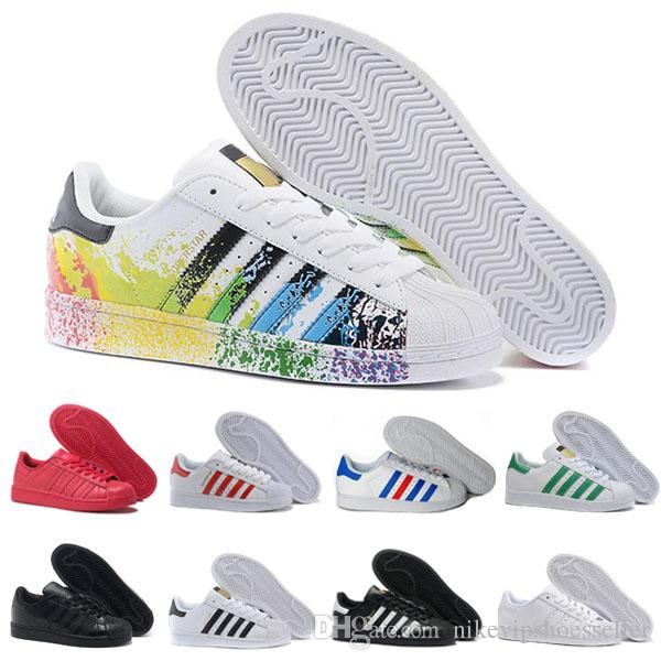 f17ad6b9390d 2018 Superstar Original White Hologram Iridescent Junior Gold Superstars  Sneakers Women Men Sports Originals Super Star Casual Trainers Shoe Green  Shoes ...