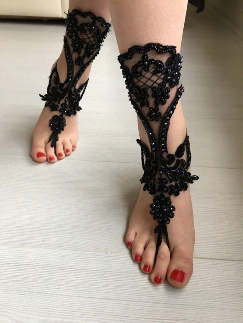 Summer Fashion Bridal Shoes Black Beaded Lace Applique Ankle Strap Bracelets Sexy Open Toe Shoe for Weddings