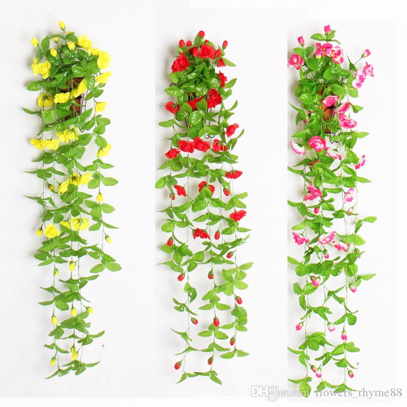 2019 Artificial Flowers With Leaves Silk Flower Wall Hanging Vines