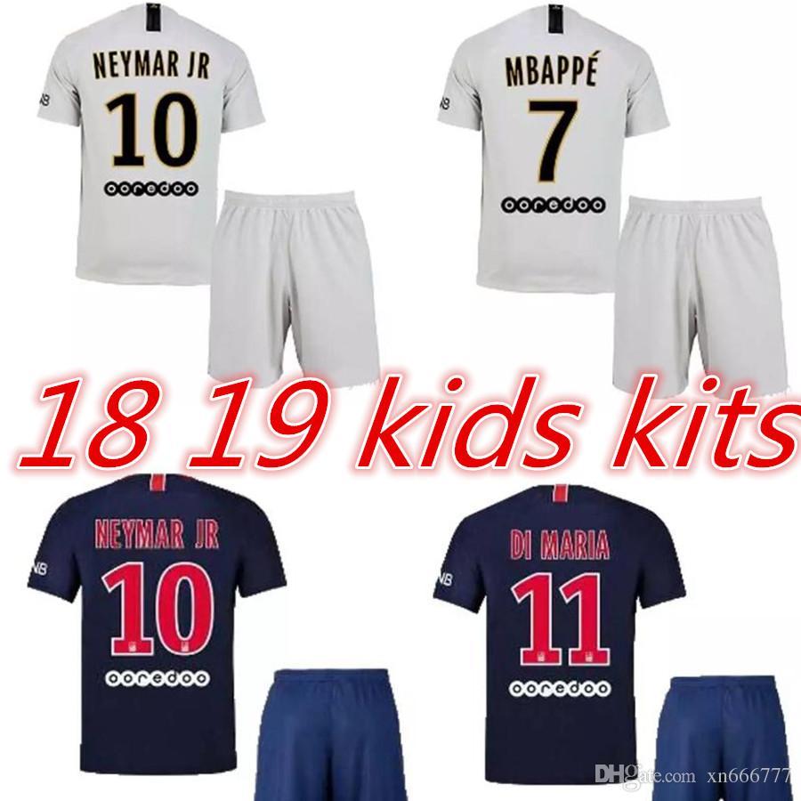 7   MBAPPE 2019 Neymar Jr Casa Lejos Los Niños Kits De Fútbol Jersey 18 19  Di María CAVANI Camisetas De Fútbol Niños Maillot Kit Por Xn666777 fe8b036044255