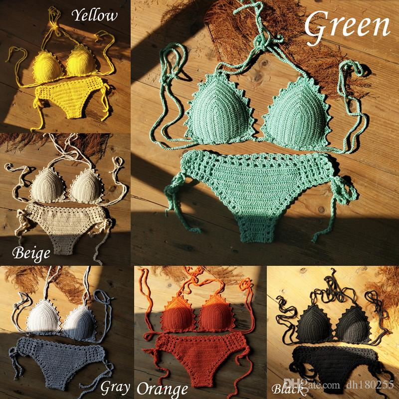 a8b08c36bc Handmade Women's Boos/Push Up Swimwear 60S Beach Crochet Bikini Set Lining  swim trunks shorts Beachwear Bathing Suit