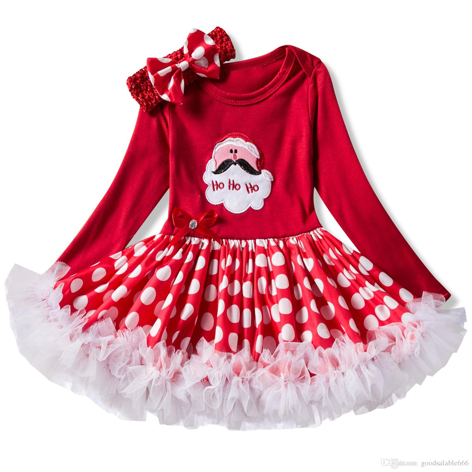 76c9cbbc643d Baby Girls Christmas Outfits Newborn Girl Romper Princess Dresses with  Hairband Toddler Baby Girl Xmas Dresses My Frist Christmas Clothes