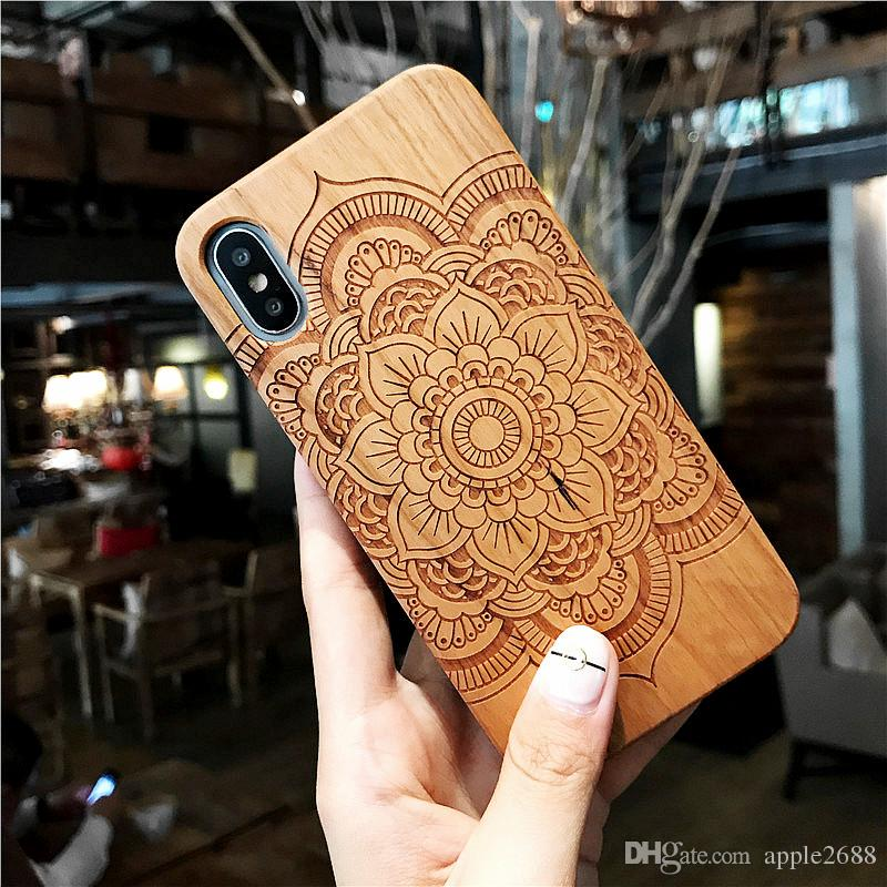 Tribal Wolf Skull Wood Phone Case for Samsung Galaxy S7 S7 Edge Dragon Flower Wooden Apple iphone 6 6S + iphone X Cover