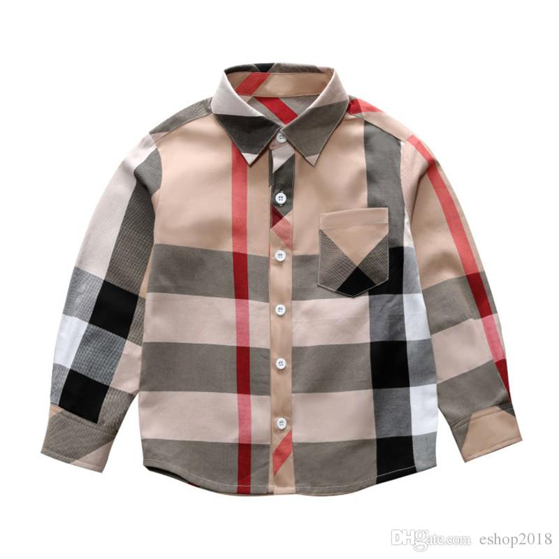 afa4593ddf New Arrival 2018 Autumn Kids Boys Shirts Long Sleeved Cotton Classic Plaid  Baby Blouse Children Clothing For 3 8T Boys Checkered Shirts White Kids T  Shirts ...