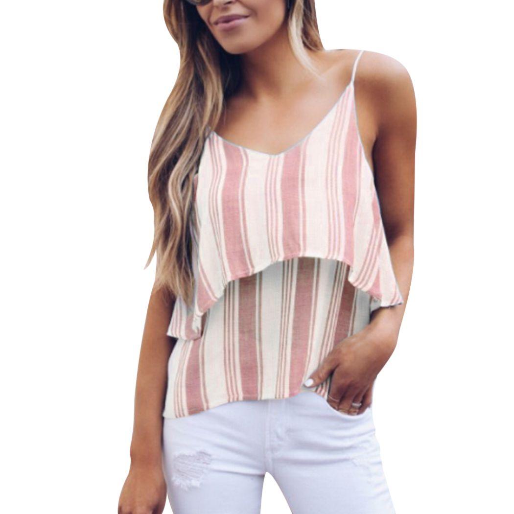e56298b1 2019 Sexy V Neck Striped Camis Tops Women Fashion Sleeveless Summer T Shirt  Vest Casual Spaghetti Strap Tank Top Boho Beach Camisole From Honjiao, ...