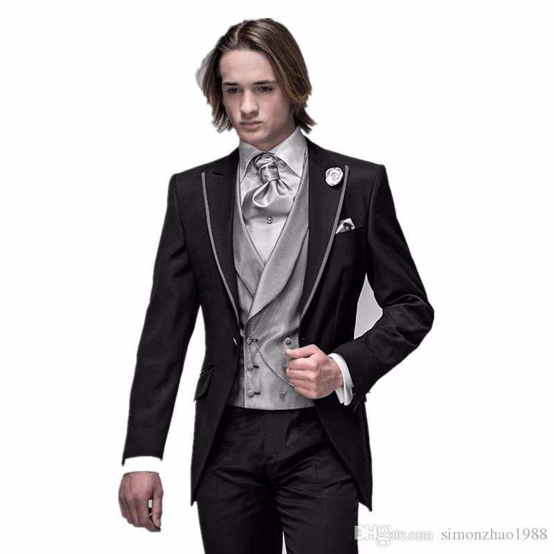 2018 New Arrival Italian Men Tailcoat Black Peaked lapel Wedding Suits For Men Groomsmen Suit Groom Tuxedos For Men Suit Bridegroom