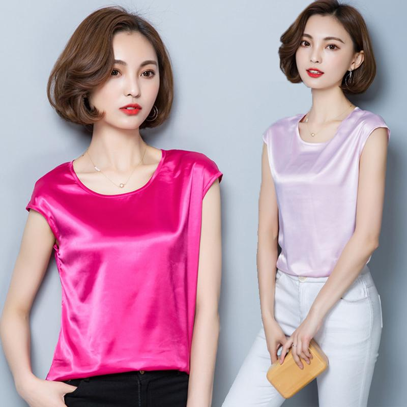 ce2499eafbb10 2019 High Quality Women Silk Blouses Casual OL Silk Blouse Loose Sleeveless  Work Wear Blusas Feminina Tops Shirts Plus Size Pink Red From Eventswedding