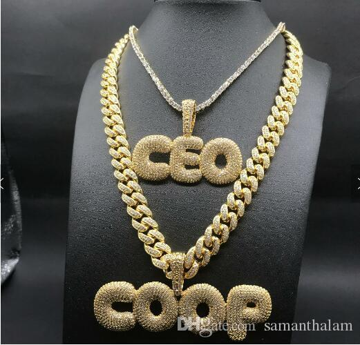 A-Z 26 big letters Custom necklace Jewelry Ice out Name Chain bubble drip  letter pendant hip hop jewelry
