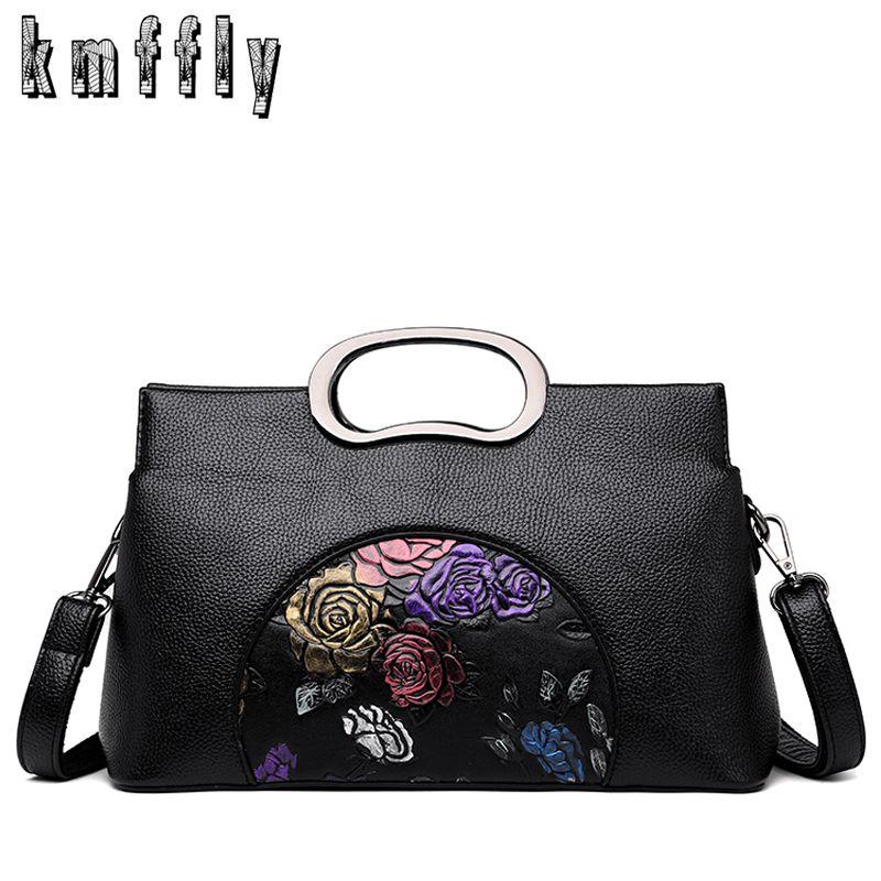 7a4dbe95b95d 2019 Fashion 2018 Women Leather Handbags Vintage Painted Casual Tote Bags  Designer Brand Crossbody Shoulder Bag Ladies Hand Bag Sac A Main Black  Handbag ...