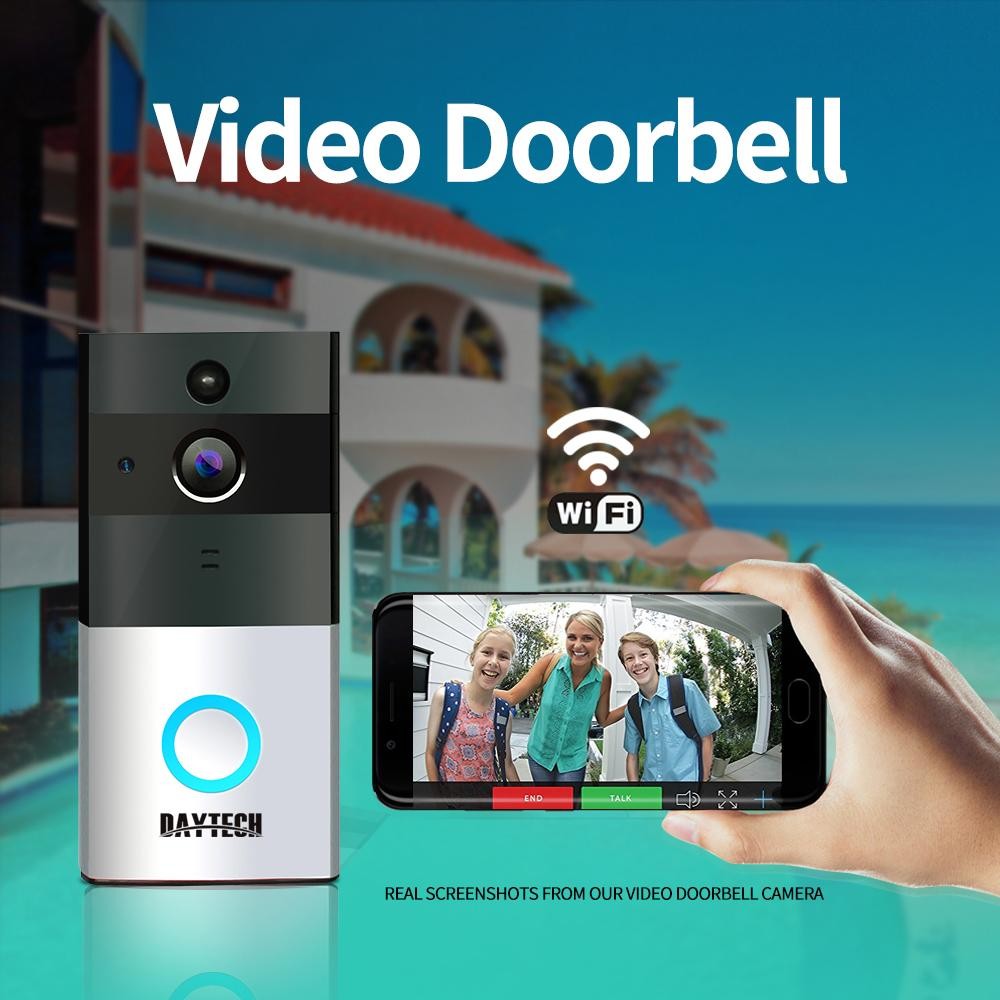 DAYTECH Wireless Video Doorbell Camera Wi-Fi 720P HD IP Camera PIR Motion  Sensor Baery Power Wireless Door Bell Two Way Audio