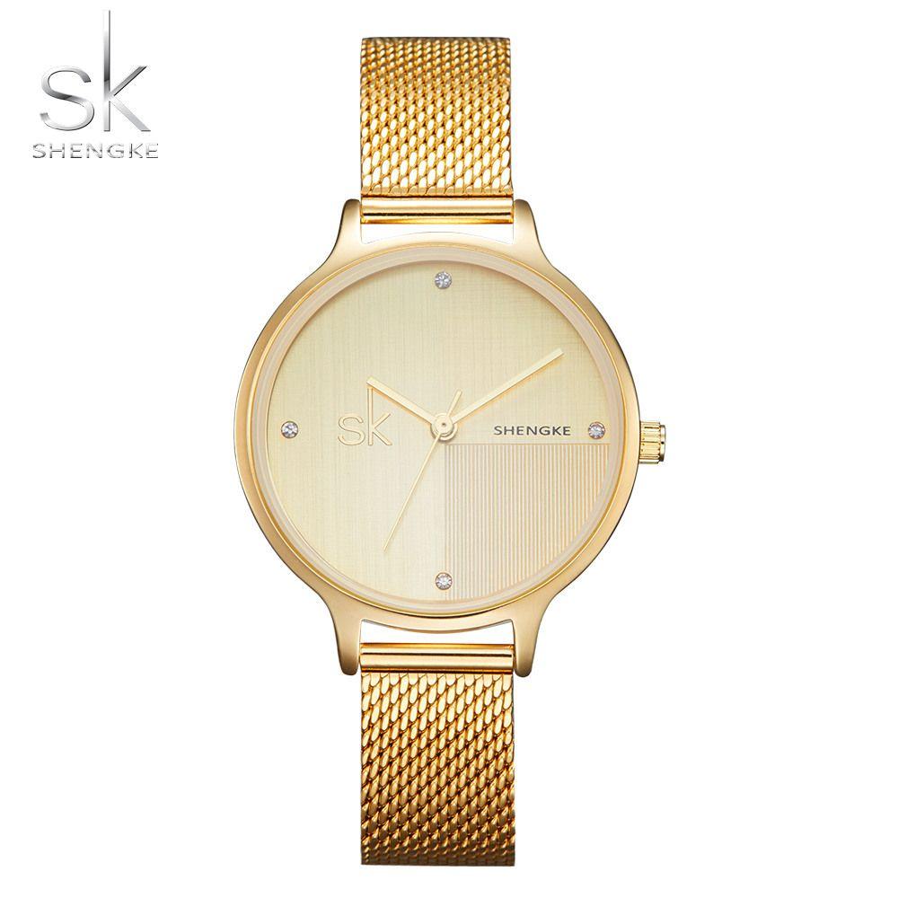a298ddd8722 Compre Shengke Novo Luxo Mulheres Relógio De Marcas Famosas De Ouro Design  De Moda Pulseira Relógios Senhoras Mulheres Relógios De Pulso SK De  Watchoutbaby