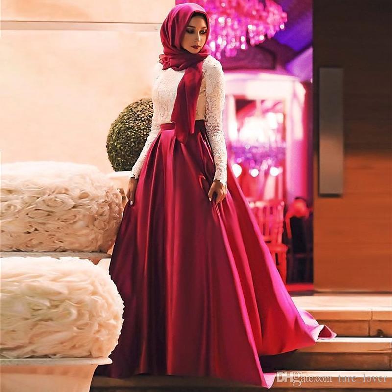 Vestidos de baile musulmán rojo blanco 2018 Vestidos de noche Hijab de manga larga de encaje Longitud del piso de satén más tamaño Partido árabe saudita Dresse