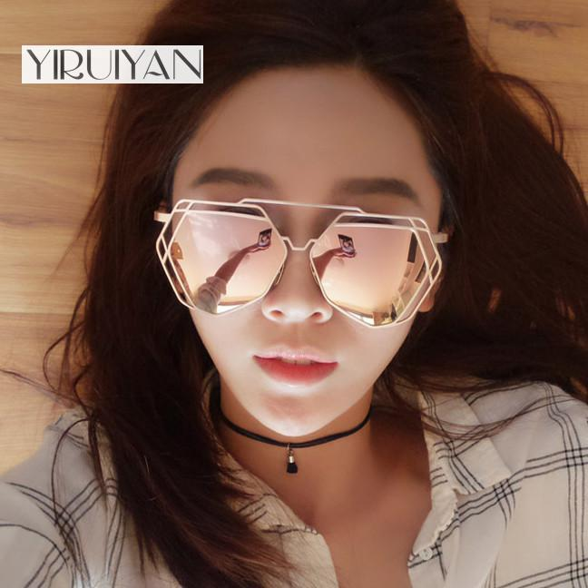 48a639a99a6b6 Wholesale Sunglasses Women Mirror Glasses New Fashion Ladies Sunglasses  Luxury Geometry Twin Beams Alloys Frame Cheap Eyeglasses Online Sunglasses  At Night ...