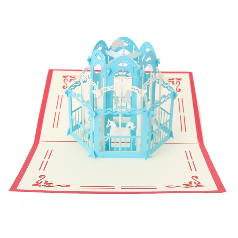 3D Carousel Greeting Card Pop Up Paper Cut Postcard Birthday Valentines Gift -Y102