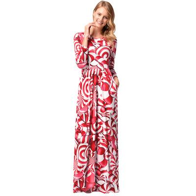 2018 new women christmas dress fashion print floor length dresses female long sleeve christmas party costume women christmas dress floor length dresses - Long Christmas Dresses