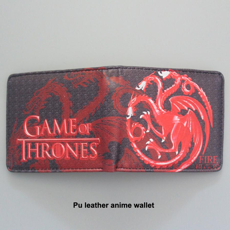 European American Movies Designer Anime Brieftasche Frauen Männer Bifold GAME OF THRONES Brieftasche Leder Geld Halter Tasche Drache Geldbörse