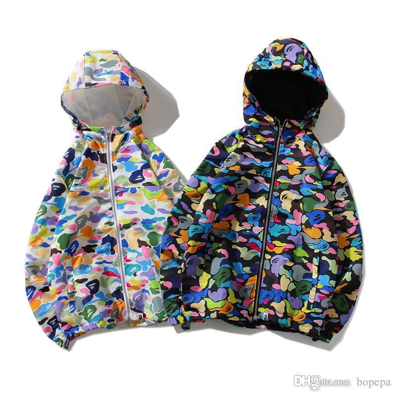 12fd91528b3c Fashion Brand Lover Camo Printed Windbreaker Cardigan Hoodies Hat ...