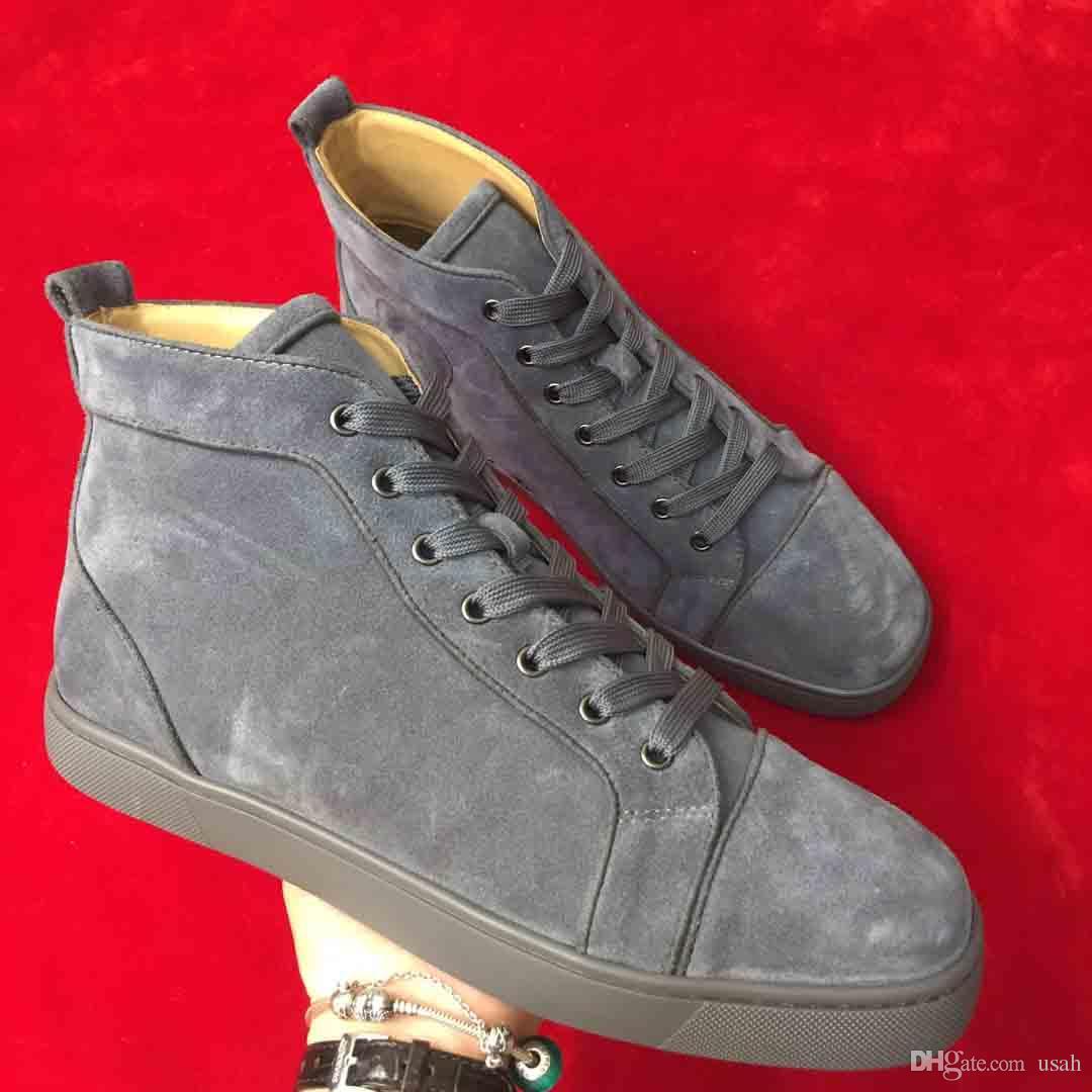 545c89cf31b Original High Quality Red Bottom Men Causal Sneakers High Help Gray  European Fashion Brand Man Red Sole Flat Shoes Handmade Custom with box