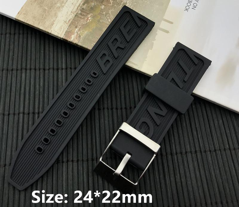 aa7f2185524 New Black 24mm 22mm Buckle Men Watchband Silicone Rubber Watch Band ...
