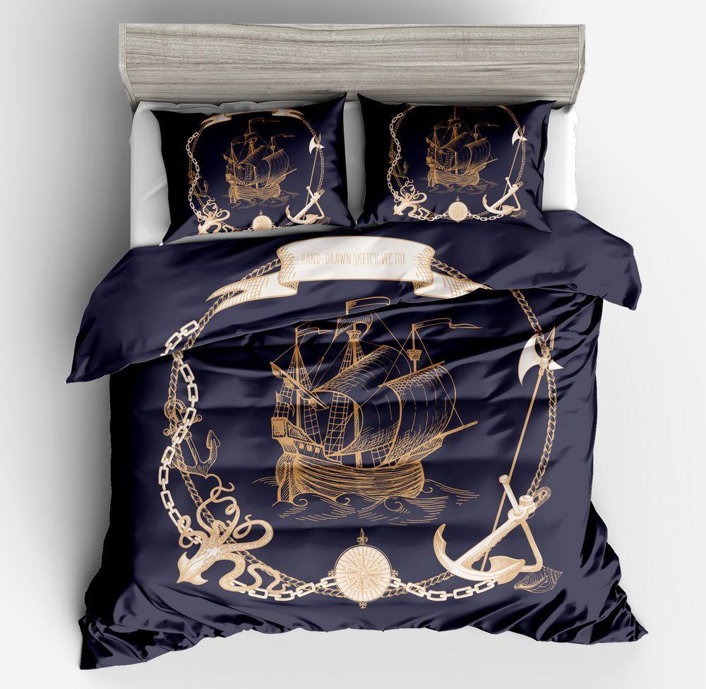 Hohe Qualität 100 Polyester Bettwäsche Sets 2 3pcs 3d Segelboot Anker Bettbezug Set Mit Kissenbezug Roupa De Cama Bettwäsche
