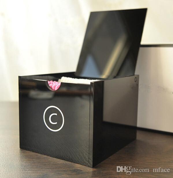 Lusso C Cosmetic Holder acrilico trucco tamponi Box Big attrezzi di trucco di trucco di spazzola Desktop Storage Box Con Confezione Regalo il regalo di nozze